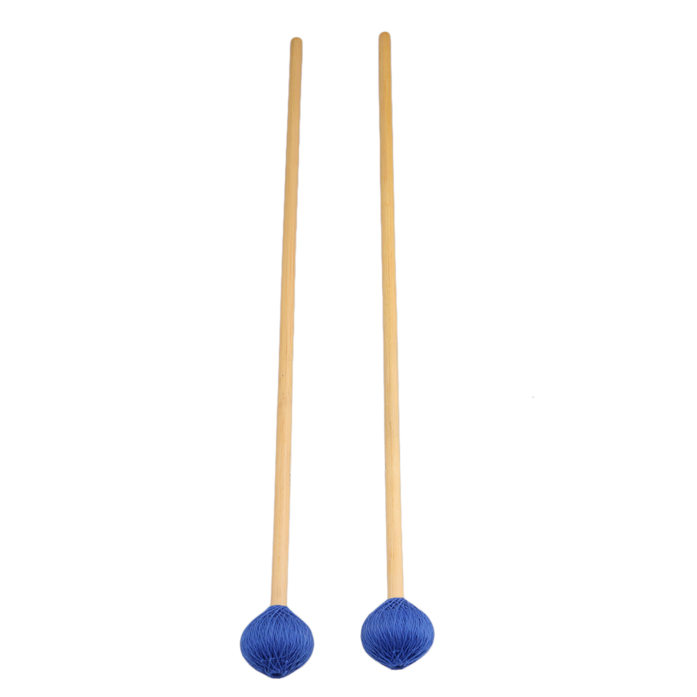 BQLZR Rattan Handles and Blue Woolen Yarn Head Hard Keyboard Marimba Mallets Pack of 2 by