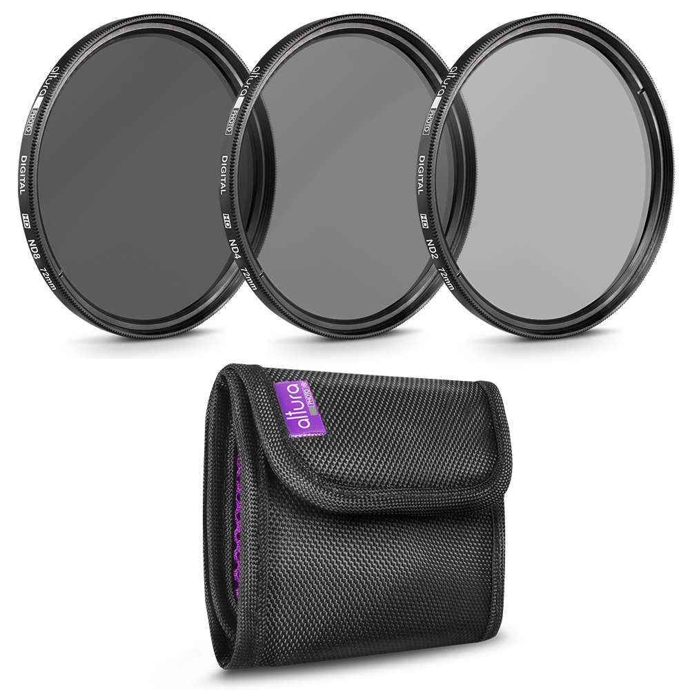 72MM Altura Photo Neutral Density Professional Photography Filter Set (ND2 ND4 ND8)