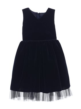 92a2c5f735 Product Image Sweet Kids Little Girls Navy Stretch Velvet Holiday Occasion Dress  2T-6