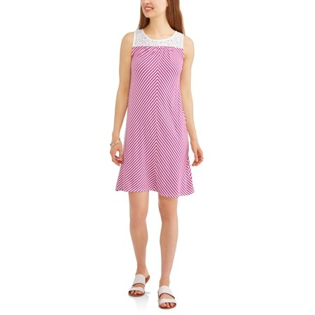 Women's Knit Dress with Lace Yoke