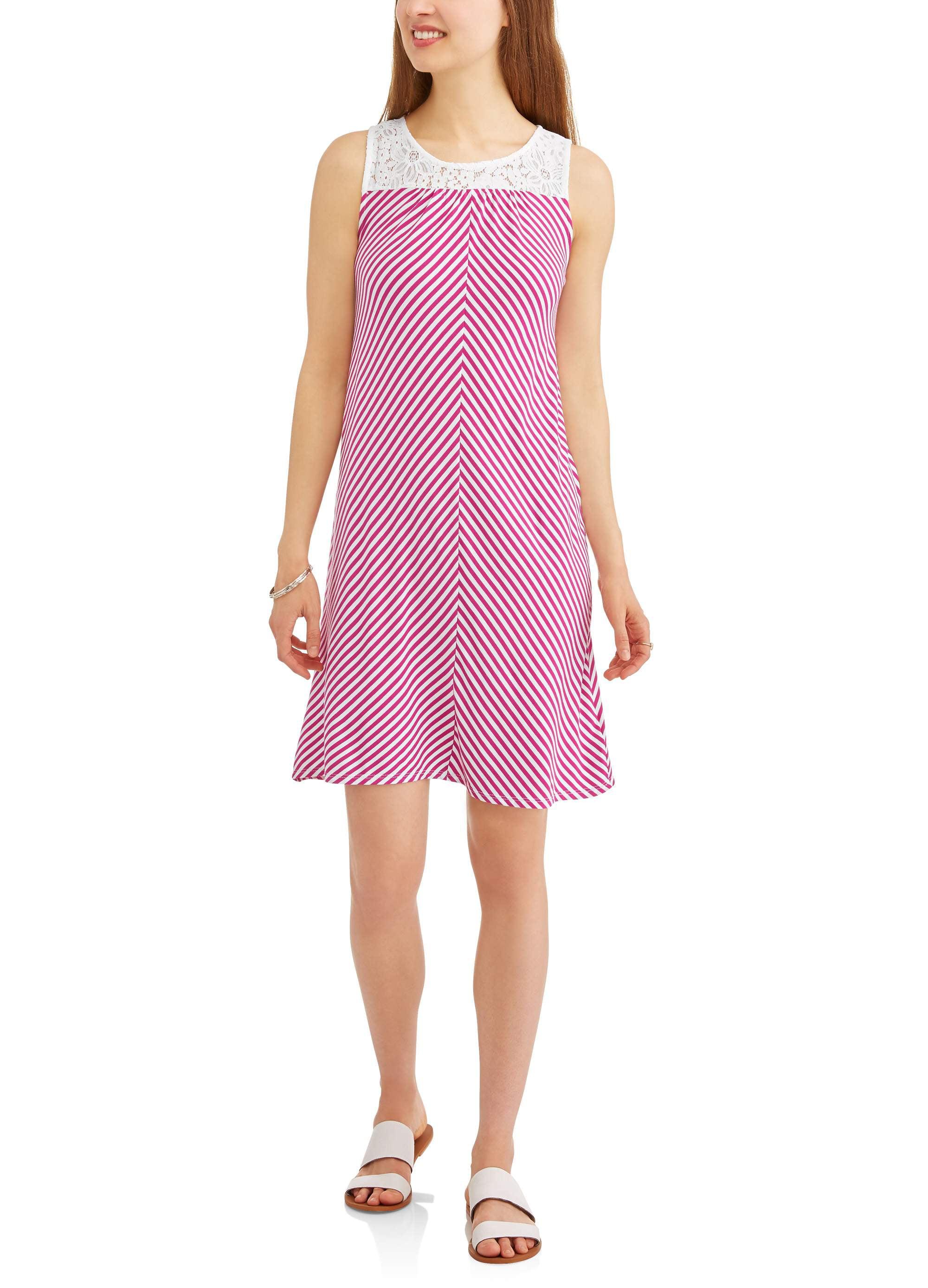 Women's Knit Dress with Lace Yoke