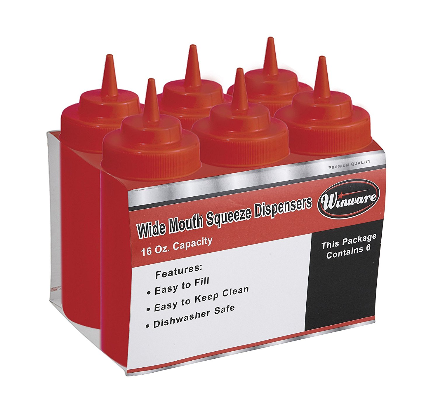 Squeeze Bottle, 16 Ounce, Wide Mouth, Plastic, RED (6 Pieces/Unit)