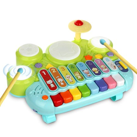 3 in 1 Toddler Drum Set Piano Keyboard Xylophone Toys Musical Instrument Learning Developmental Light Up Toys for Kids Baby Infant Boys Girls Age 1 2 3 4 Years Old ()