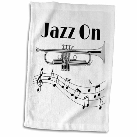 3dRose Jazz On musical design with music notes for any musician or trumpet - Towel, 15 by 22-inch ()