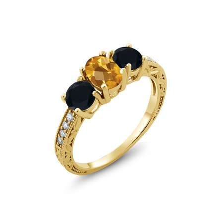 1.77 Ct Oval Checkerboard Yellow Citrine Black Onyx 18K Yellow Gold Plated Silver Ring