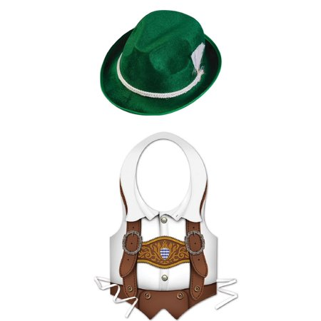 Oktoberfest Lederhosen Plastic Vest Bavarian Green Alpine Hat Costume Kit - Barbarian Girl Costume