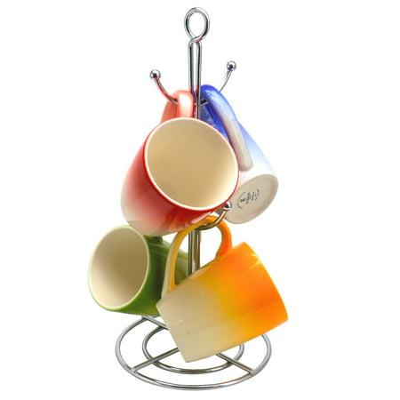 Gibson Home Color Gloss 4 Piece 12 oz. Mug with Metal Stand