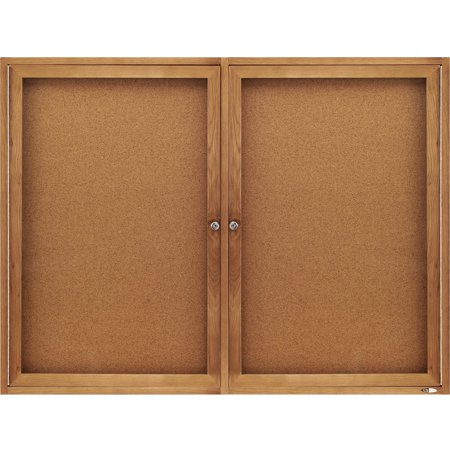 Oak Enclosed Bulletin Board - Quartet, QRT364, Oak Frame 2-Door Enclosed Cork Bulletin Brd, 1 / Each