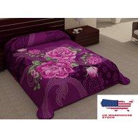 Linen Plus 2 Ply Purple Floral Blanket Reversible King Size Plush Soft Mink 6lbs