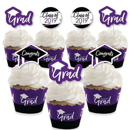 Purple Grad - Best is Yet to Come - Cupcake Decoration - 2019 Purple Graduation Party Cupcake Wrappers and Treat Picks Kit - Set of