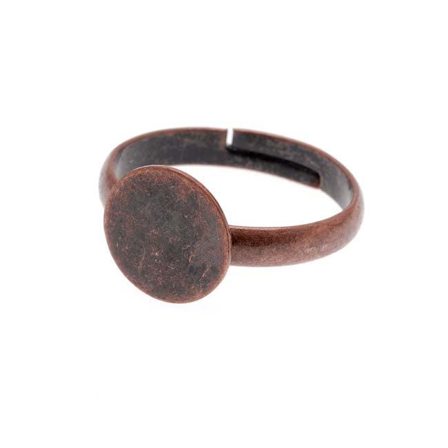 Antiqued Copper Color 10mm Plate Glue On Adjustable Ring (1)