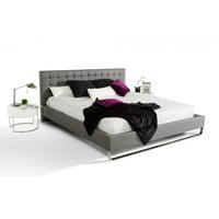 Modern Grey Tufted Leatherette Headboard Queen Platform Bed VIG Modrest Gemma
