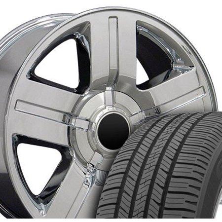 OE Wheels 20 Inch Fit Chevy Silverado Tahoe GMC Sierra Yukon Cadillac Escalade CV84 Texas Chrome 20x8.5 Rims Goodyear Eagle All Season Tires Lugs TPMS Hollander 5291 SET