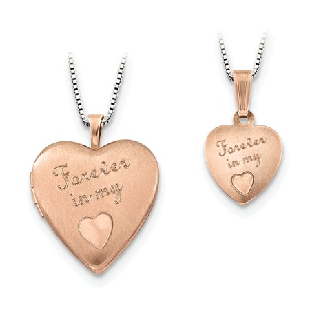 Sterling Silver Rose Gold-Toned Polished Satin Forever in My Heart (Forever In My Heart Lockets And Charms)
