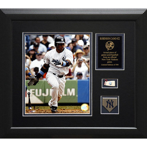 MLB - Robinson Cano New York Yankees Framed 8x10 Photograph With Game Used Baseball Piece & Medallion