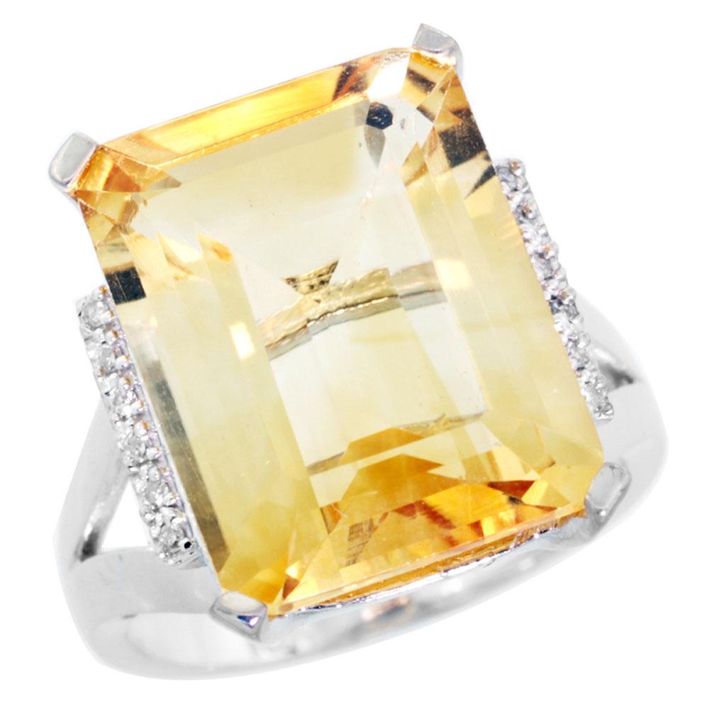 10K White Gold Diamond Natural Citrine Ring Emerald-cut 16x12mm, sizes 5-10 by WorldJewels