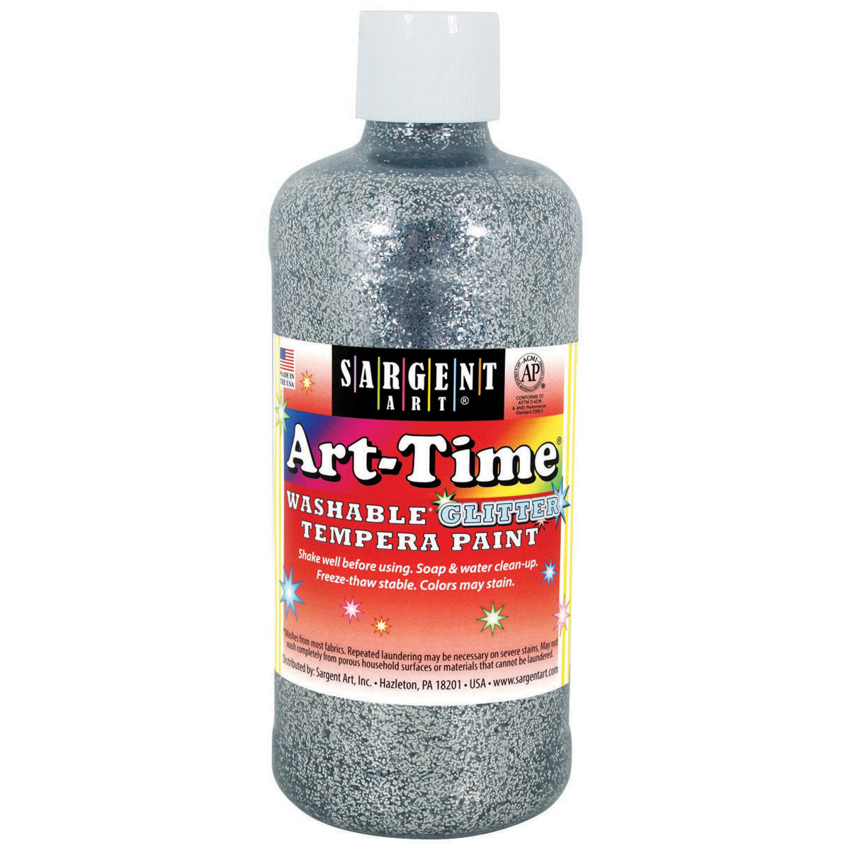 Washable Art-Time(R) Glitter Tempera Paint 16oz-Silver