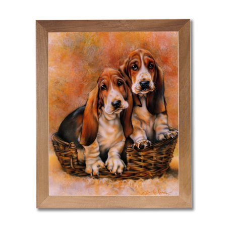 Baby Basset Hound Puppy Dog Animal Wall Picture Honey Framed Art Print