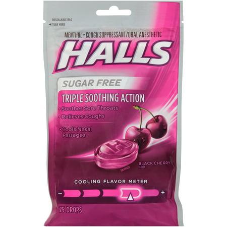 - HALLS, Black Sugar Free Cherry Flavor Cough Drops, 25 Pcs