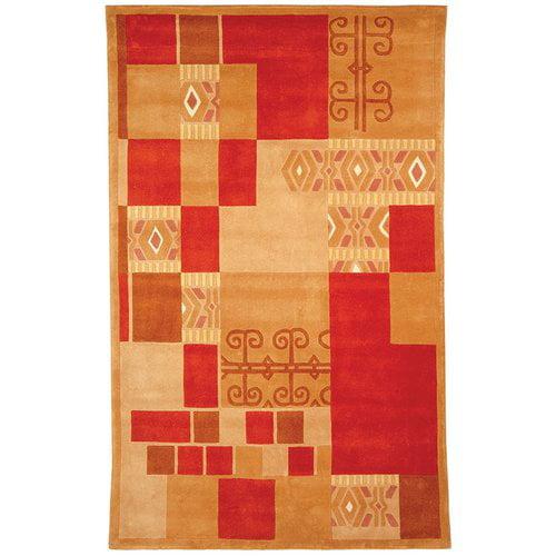 Wool Rug in Red, Brown & Beige (3 ft. 6 in. x 5 ft. 6 in.)