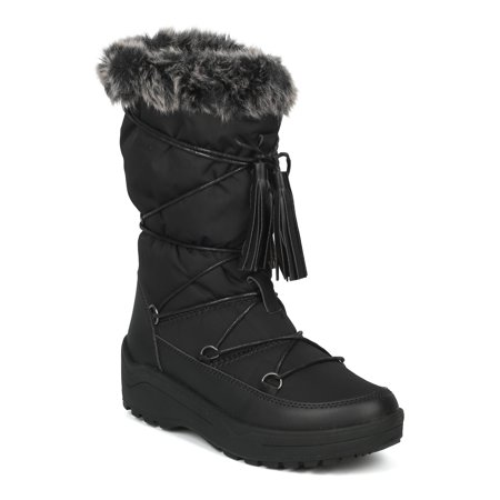 Women Mixed Media Mid-Calf Gilly Tie Lace Up Fur Cuff Winter Boot - 18152