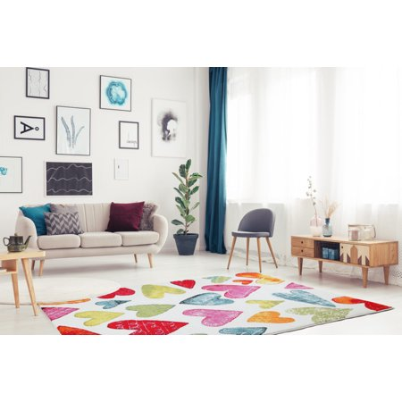 """Ladole Rugs Contemporary Heart Theme Pattern Polypropylene Kids Area Rug Carpet in Cream and Multicolor, 4x6 (3'11"""" x 5'3"""", 120cm x 160cm) - image 2 of 3"""