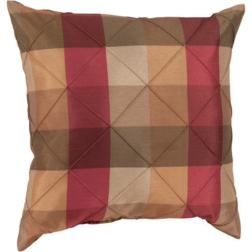 Mainstays Pin Tuck Plaid Decorative Pillow, Spicey
