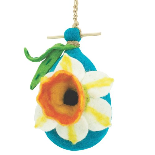 Global Crafts Daffodil Felt 9 in x 5 in x 3 in Birdhouse