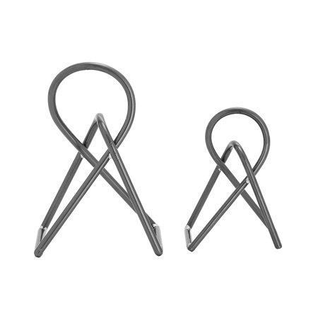 Graphite Sculpture (2 Piece Graphite Grey Finish Abstract Knot Metal Sculpture Set)