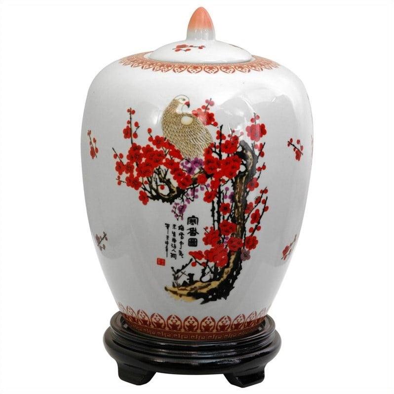 "11"" Cherry Blossom Porcelain Vase Jar by Oriental Furniture"