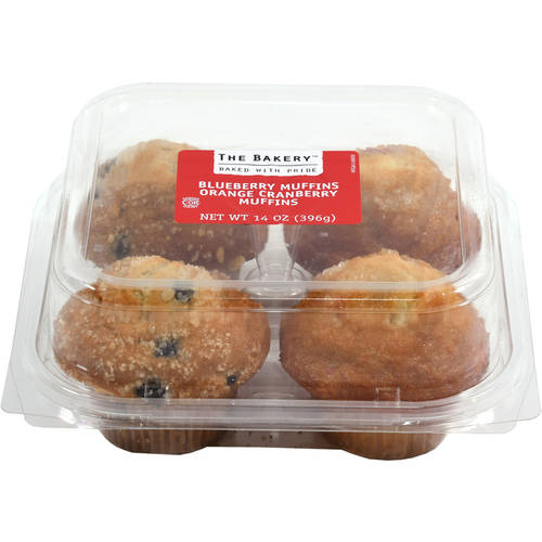 The Bakery at Walmart Blueberry & Orange Cranberry Muffins, 4 ct, 14 oz