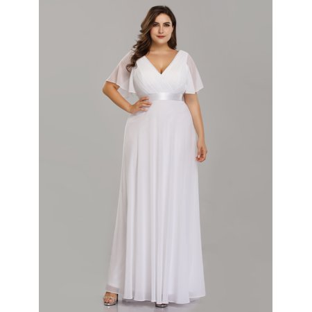 86a53b0181 Ever-pretty - Ever-Pretty Womens Short Sleeve Long Winter Holiday New Year  Party Evening Maxi Dresses for Women 9890P White US 14 - Walmart.com