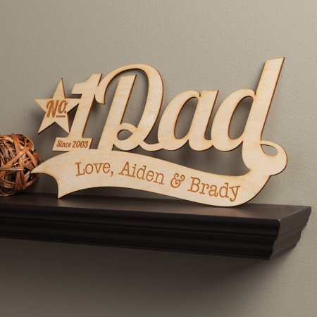 Number One Dad Personalized Father's Day Wood Plaque