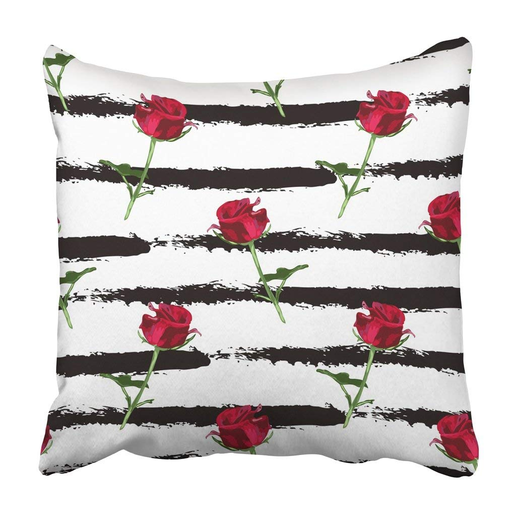 BPBOP Colorful Geometric Elegant With Red Rose Flowers In Watercolor Style Design Floral Pillowcase Cover 18x18 inch
