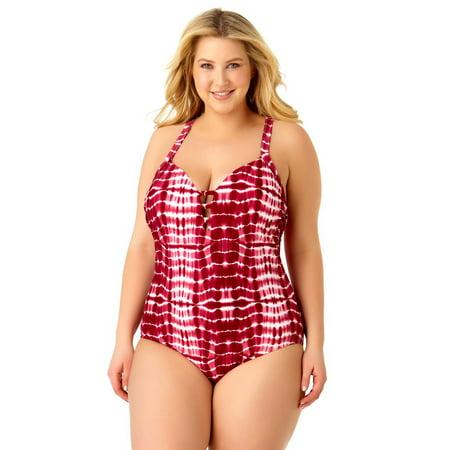 Lycra Strappy 4 Piece - Catalina Women's Plus Size Boho Tye Dye Strappy One Piece Swimsuit