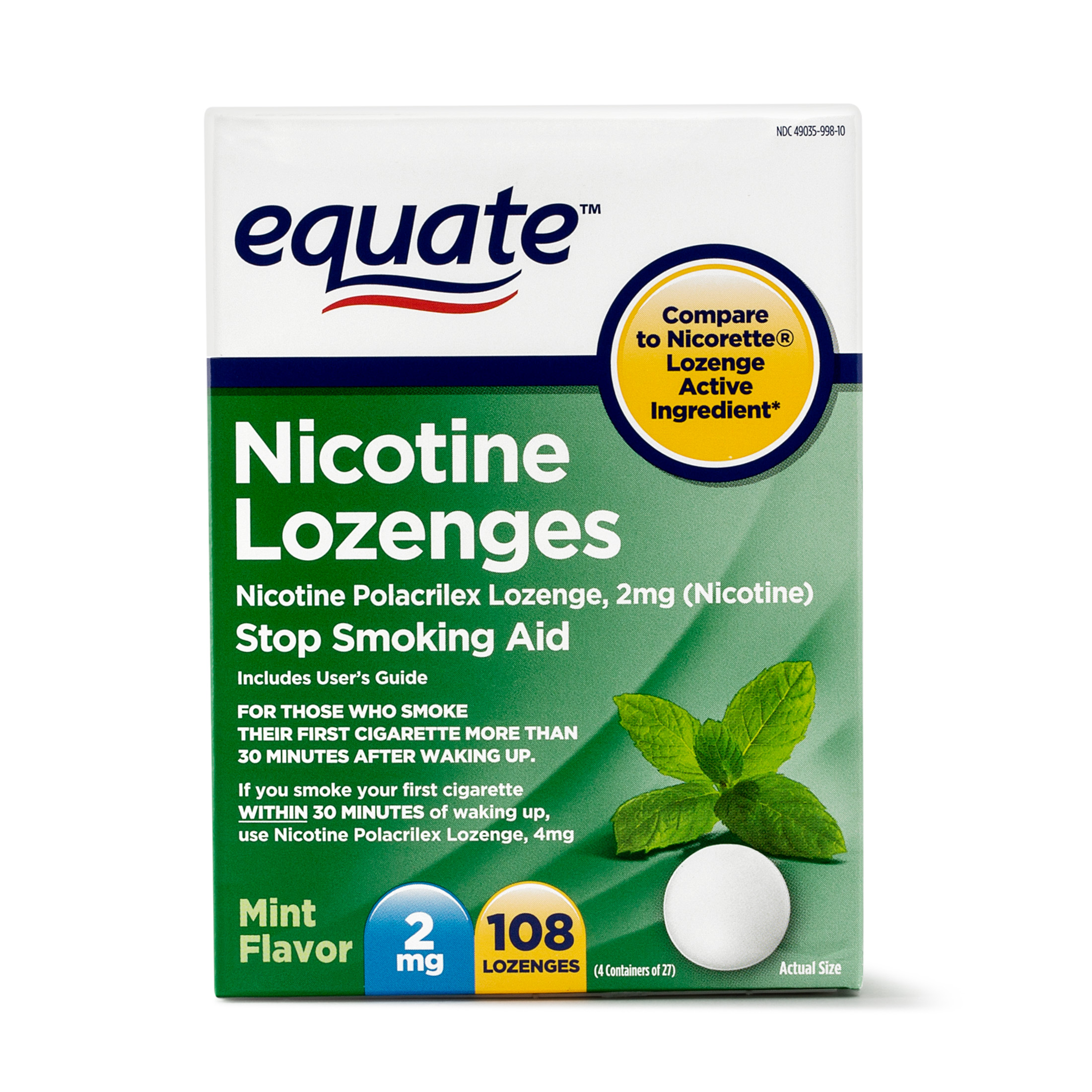 Equate Nicotine Lozenges Stop Smoking Aid Mint Flavor, 2 mg, 108 Ct