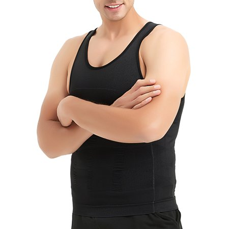 Men Slimming Body Shaper Compression Shirt Shapewear Sculpting Vest Muscle Tank Bulk Sale-Black-L