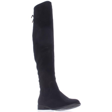 Womens XOXO Trish Over The Knee Back Lace Boots, Black, 8.5 US / 40 EU - Black Lace Boots