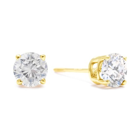 1 Carat Diamond Stud Earrings In 14 Karat Yellow Gold