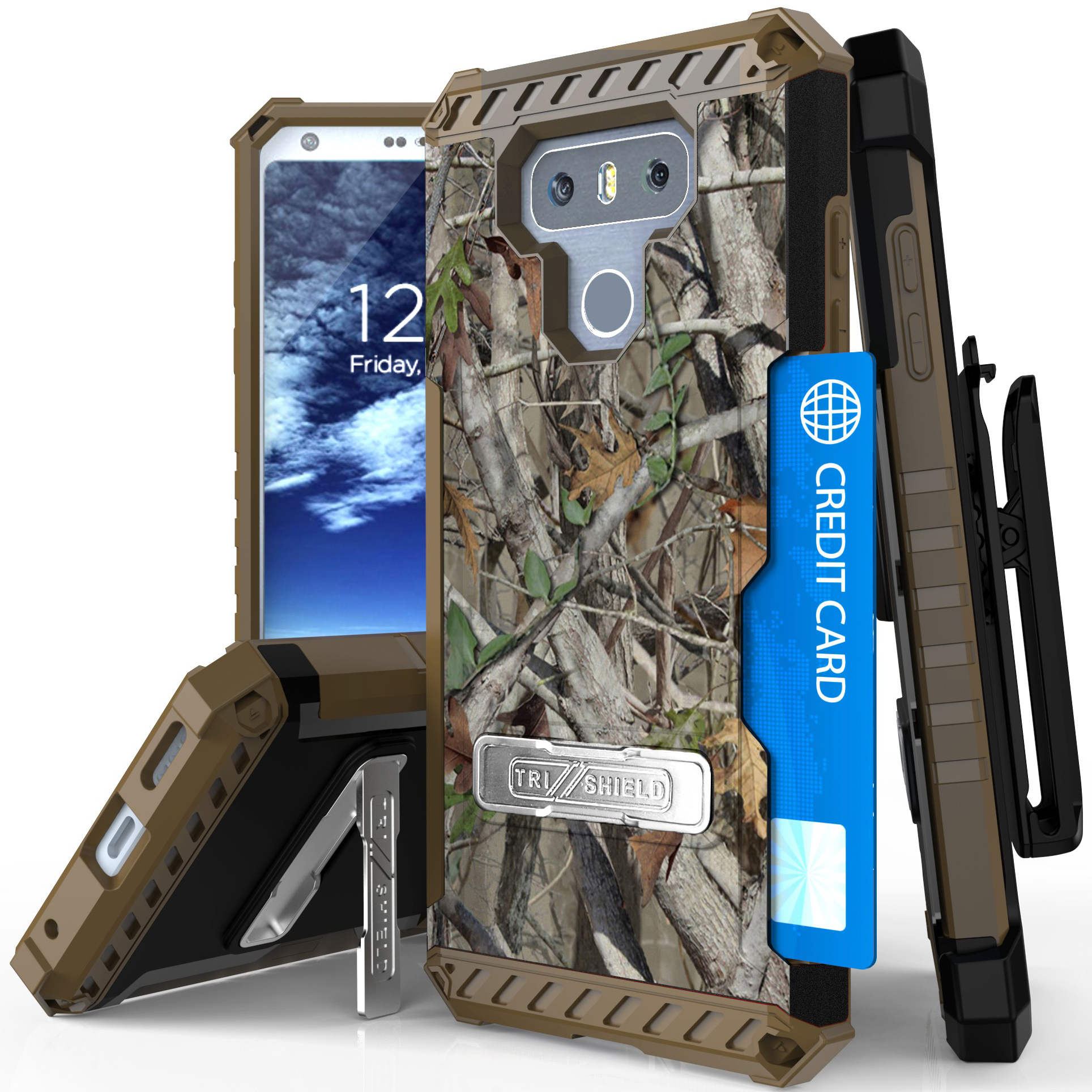 LG G6 Case, AUTUMN TREE REAL WOODS CAMO RUGGED CASE COVER MAGNETIC KICKSTAND + BELT CLIP HOLSTER + SCREEN PROTECTOR + LANYARD + CREDIT CARD WALLET SLOT FOR LG G6 (LG VS988, LS993, H872 H870 H871 H872)