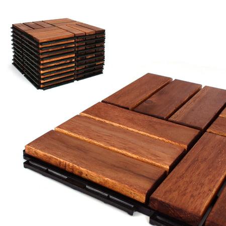 - Deck Tiles - Patio Pavers - Acacia Wood Outdoor Flooring - Interlocking Patio Tiles - 12