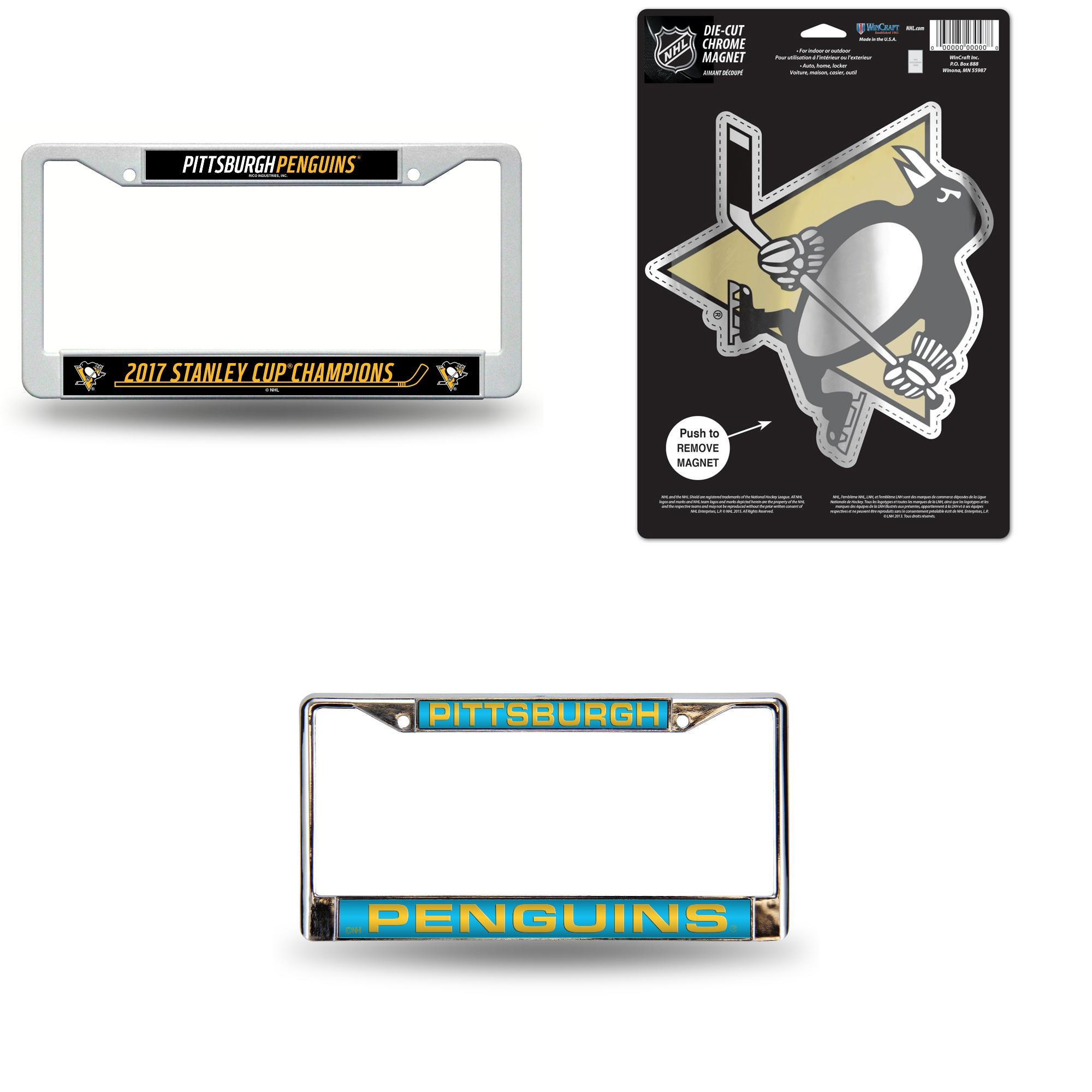 Team Color One Size WinCraft NHL Pittsburgh Penguins Full Color License Plate Frame