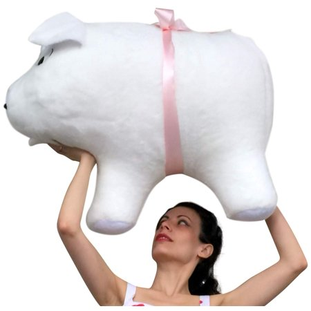 American Made Giant Stuffed Pig 32 Inch Soft White Big Plush Hog Farm Animal - Pig Stuffed Animal