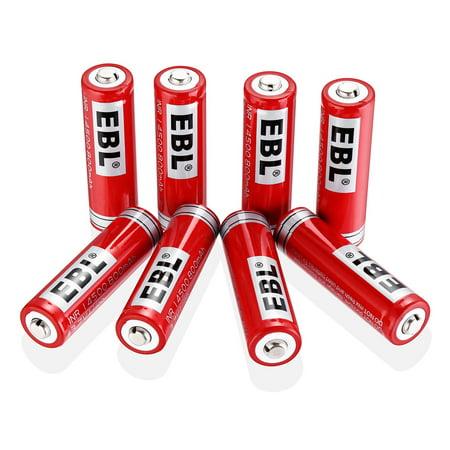 EBL 8-Pack 14500 Battery 3.7V 800mAh Li-ion Rechargeable Batteries For LED Flashlight Torch (Li Ion Light)