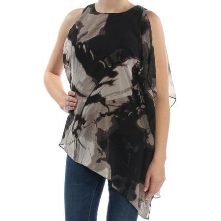 ALFANI Womens Black Single Flutter Sleeve Wit Floral Sleeveless Jewel Neck Blouse Evening Top  Size: (Alfani Single)