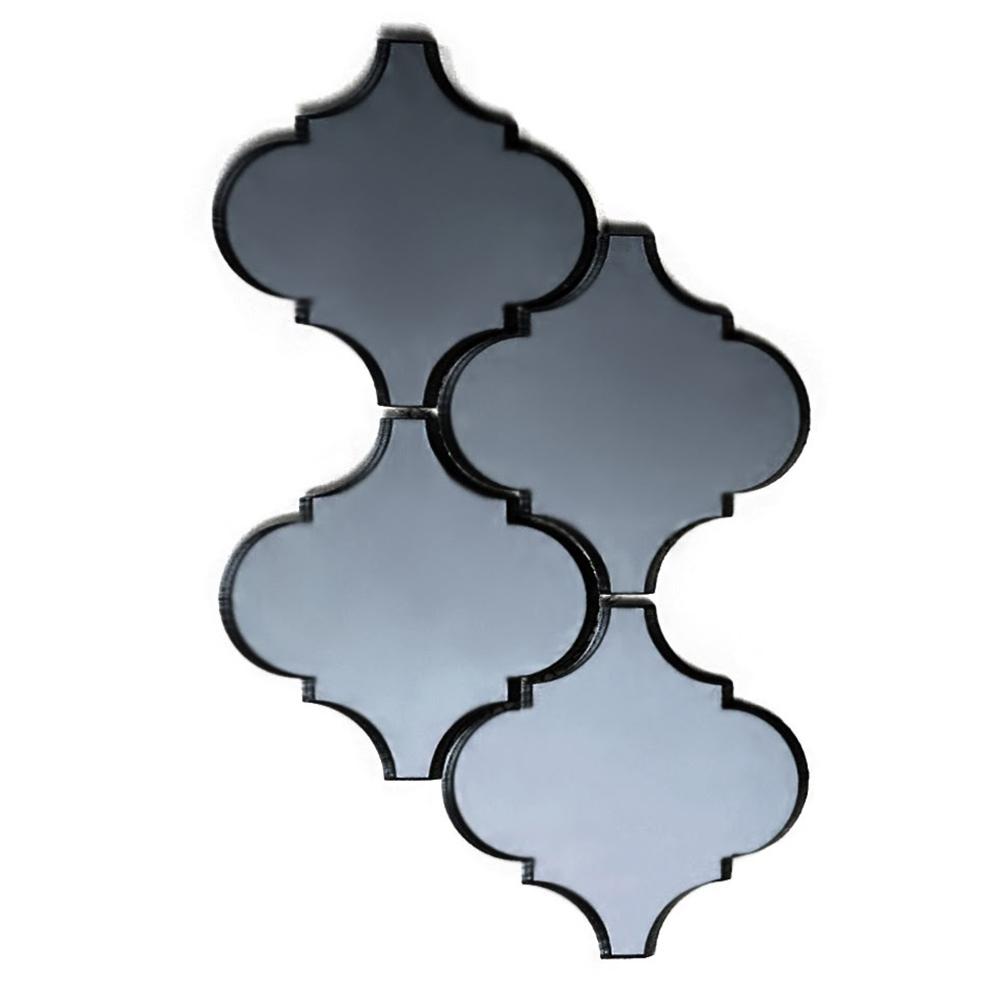 "Abolos- Echo Big Lantern Backsplash 5.625"" x 5.625"" Mirror Glass Mosaic Tile in Graphite (4.90sqft / 10pc Box)"