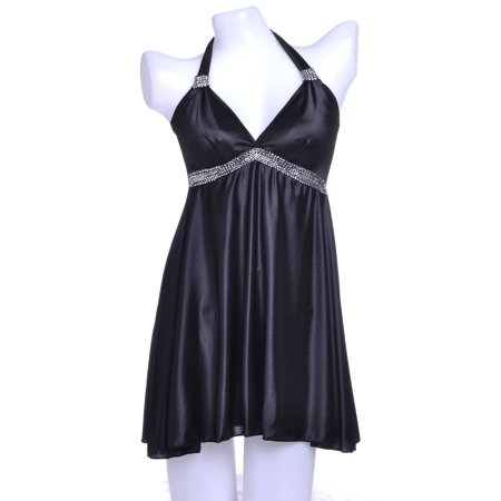 S/M Fit Black Modern Girl Iridescent Metallic Zig Zag Trim Negligee
