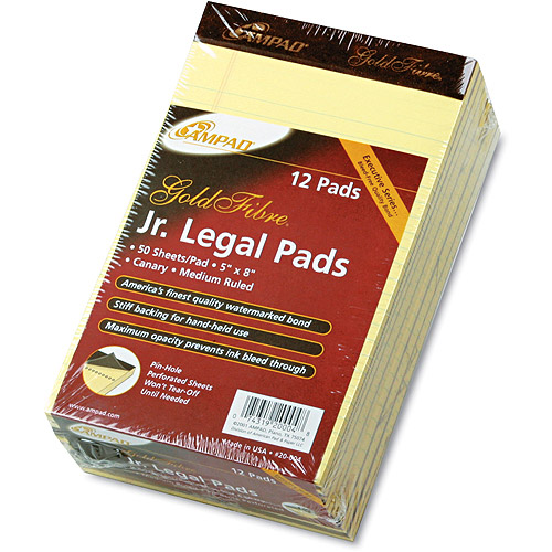 Ampad Gold Fibre Writing Pads, Legal Rule, Canary, 50-Sheet Pads, 12 Pack