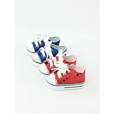 2 Pair Sequin Sneakers - Red & Blue - Fits 18