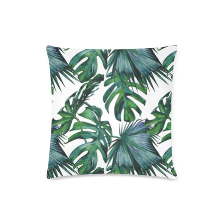 BPBOP Tropical Hibiscus Palm Leaves Coral Pink Deisign Cushion Cases Pillow Cover Two Sides Printing 16x16 - Coral Leaf